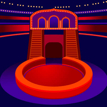 cir: Modern vector illustration of a circus arena. Abstract background in orange and violet colors. Useful for postcard, invitation, leaflet, brochure, print, book, advertisement and poster graphic design. Illustration