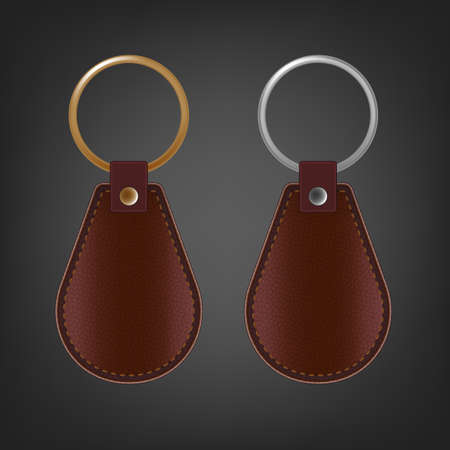 knickknack: Vector illustration of a blank leather rectangular keychain with a ring for a key, Isolated on a light gray background. Ideal template for branding, identity guidelines and promo campaigns.