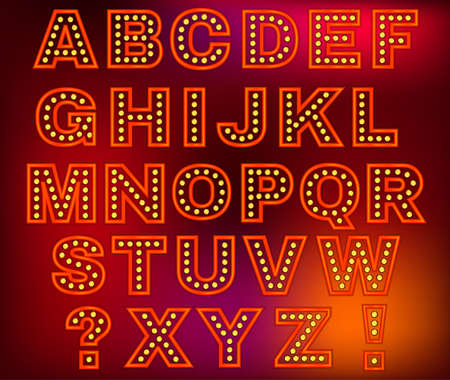 streetlight: Beautiful vector illustration of retro letters. Editable image in red, orange, yellow and purple colors useful for poster, postcard, signboard and banner creative design. Set of English letters Illustration