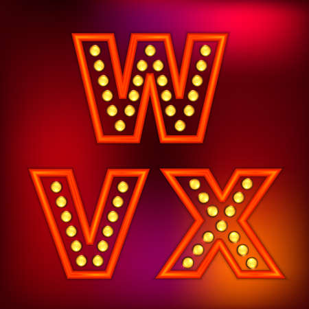 streetlight: Beautiful vector illustration of retro letters. Editable image in red, orange, yellow and purple colors useful for poster, postcard, signboard and banner creative design. Set of W, X, V letters