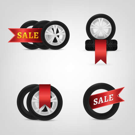 vulcanization: Beautiful vector illustration of the tire shop sale images with bright red and yellow tags. Modern realistic graphic style. Transportation automotive concept. Digital pictogram collection
