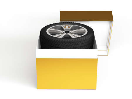 tire fitting: Gift set four tyres with a wrapped red ribbon and bow. 3D illustration isolated on white background.