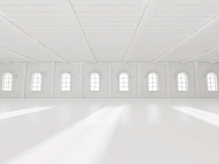 abstract building: Abstract empty illuminated light shining corridor interior, 3d render illustration Stock Photo