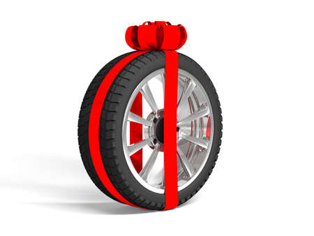 tire fitting: Gift tyres with a wrapped ref ribbon and bow. 3D illustration isolated on white background.