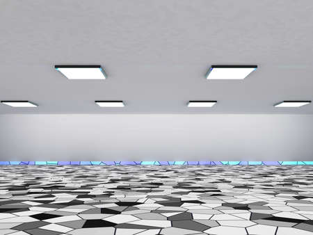 wide angle: Empty dark absract hall interior with square lamps in white ceiling, 3d illustration background, wide angle view Stock Photo