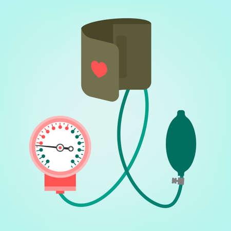 hypertensive: Beautiful vector illustration of blood pressure measuring. Abstract medicine symbol. Useful for sign development, indographics, postcard, leaflet, brochure, print, book and poster graphic design. Illustration
