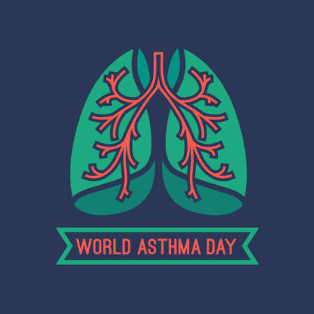pulmonology: Beautiful vector illustration of medical asthma world day. Editable image in green, orange and dark blue colors useful for a poster, icon, placard, sign, ad and web banner creative design.