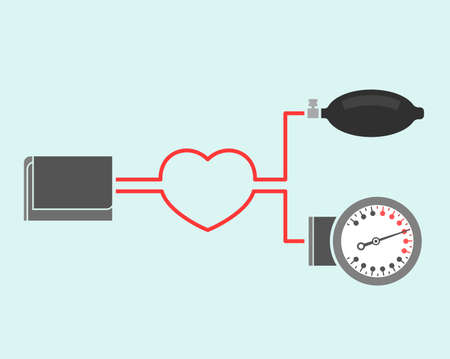 Beautiful vector illustration of blood pressure measuring. Abstract medicine symbol. Useful for sign development, indographics, postcard, leaflet, brochure, print, book and poster graphic design. Иллюстрация