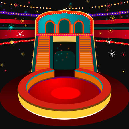 Modern vector illustration of a circus arena. Abstract background in bright colors. Useful for postcard, invitation, leaflet, brochure, print, book, advertisement and poster graphic design.
