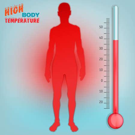 Vektor-Illustration von Bio-Infografiken mit der menschlichen Körpertemperatur Regelschema in transparenten Stil. Zusammenfassung der Medizin und Biochemie Konzept. Halten Sie Ihren Körper gesund