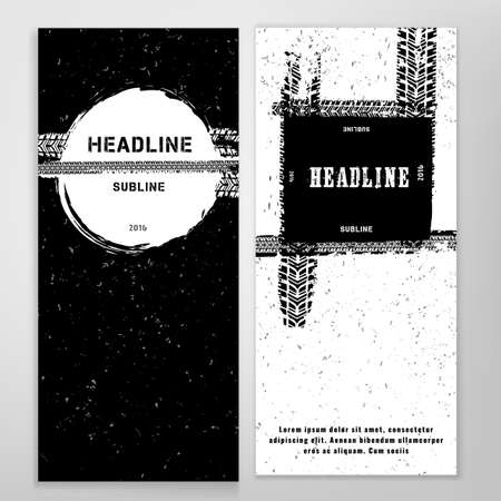 booklet design: Vector automotive banner template. Bright modern backgrounds for poster, print, flyer, book, booklet, brochure and leaflet design. Editable graphic image in white and black winter colors Illustration
