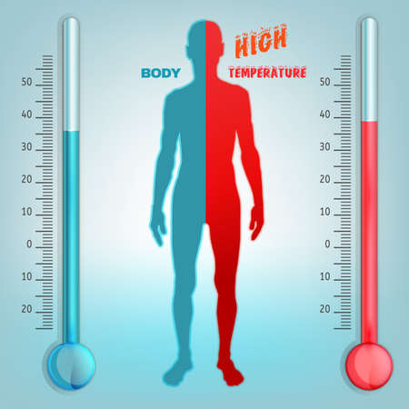 pain scale: Vector illustration of bio infographics with human body temperature regulation scheme in transparent style. Abstract medicine and biochemistry concept. Keep your body healthy