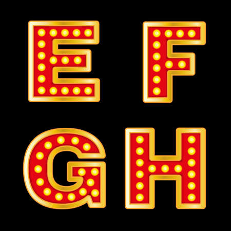 streetlight: Beautiful vector illustration of retro letters. Editable image in red, orange, yellow and purple colors useful for poster, postcard, signboard and banner creative design. Set of E F G H letters