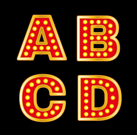 streetlight: Beautiful vector illustration of retro letters. Editable image in red, orange, yellow and purple colors useful for poster, postcard, signboard and banner creative design. Set of A B C D letters