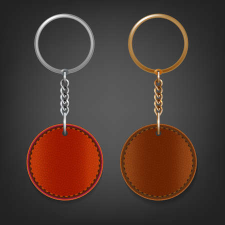 fob: Vector illustration of a blank brown and red leather oval keychain with a ring for a key, Isolated on a light gray background. Ideal template for branding, identity guidelines and promo campaigns.