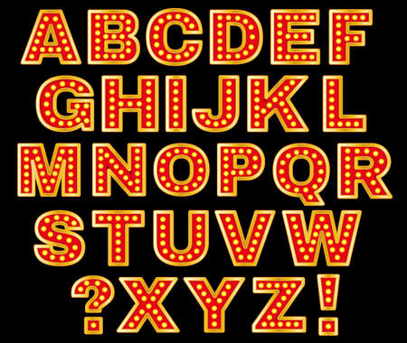 Belle illustration vectorielle de rétro lettres. l'image éditable dans les couleurs rouge, orange, jaune et violet sur fond noir utile pour affiche, carte postale, enseigne et bannière design créatif. Banque d'images - 51897811