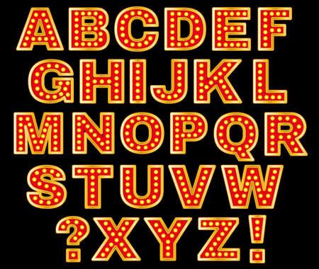 Mooie vector illustratie van retro brieven. Bewerkbare afbeelding in de kleuren rood, oranje, geel en paars kleuren op een zwarte achtergrond nuttig voor poster, briefkaart, uithangbord en banner creatief ontwerp.