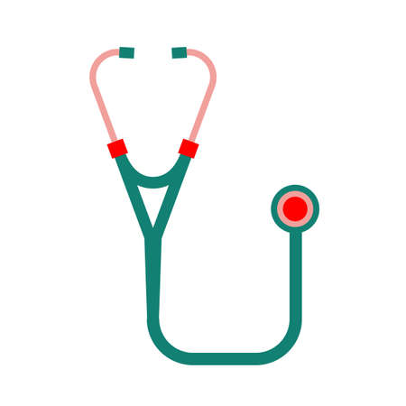 listening to heartbeat: Vector illustration of medical infographics. Medicine and healthcare concept. Editable image in red, pink, green and emerald colors useful for poster, sign, icon, logotype and banner creative design.