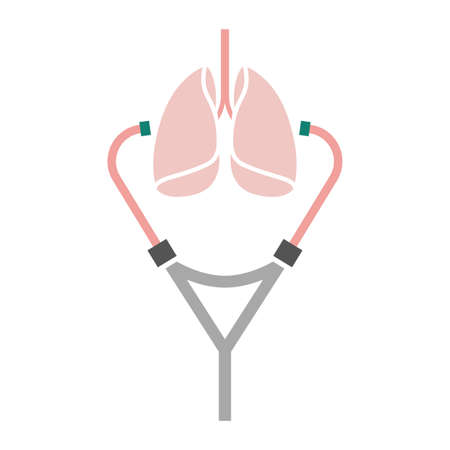 auscultation: Beautiful vector illustration of the stethoscope listening lungs. Abstract medicine symbol. Useful for sign, pictogram development, infographic, leaflet, brochure and poster graphic design.