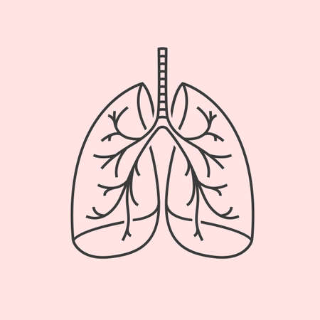 inhalation: Beautiful vector illustration of medical lungs icon. Editable abstract image in dark grey and pink colors useful for a poster, icon, placard, sign, label and web banner creative design.