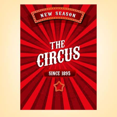 circo: Vector circo de cosecha de fondo en colores rojo brillante con elementos luminosos. Ejemplo retro editable útil para un cartel, pancarta, anuncio o cartel del diseño gráfico Vectores