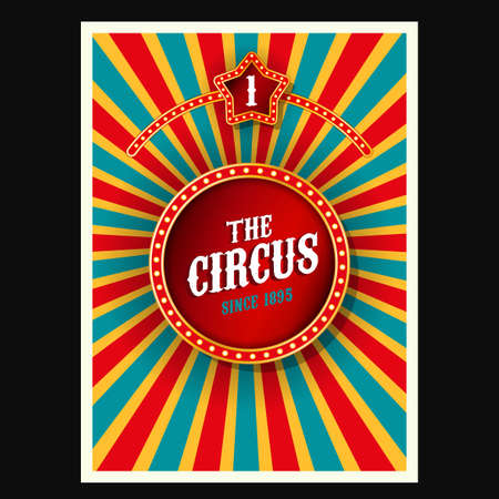 Vector vintage circus background in bright red, yelow and blue colors with illuminated elements. Editable retro illustration useful for a poster, banner, advertisement or placard graphic design
