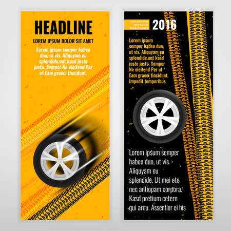 tire cover: Vector automotive banner template. Bright modern backgrounds for poster, print, flyer, book, booklet, brochure and web design. Editable graphic image in yellow, orange, white and black colors