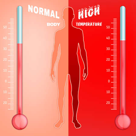 body temperature: Vector illustration of bio infographics with human body temperature regulation scheme in transparent style. Abstract medicine and biochemistry concept. Keep your body healthy