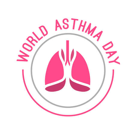 pulmonology: Beautiful vector illustration of medical asthma world day logotype. Editable colorful image in pink and gray color useful for a poster, icon, placard, sign, ad and web banner creative design. Illustration