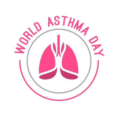 asthma: ilustración vectorial hermosa del asma médica día mundial logotipo. Editable colorida imagen en color rosa y gris útil para un cartel, icono, pancarta, muestra, publicidad y diseño creativo bandera de la tela.