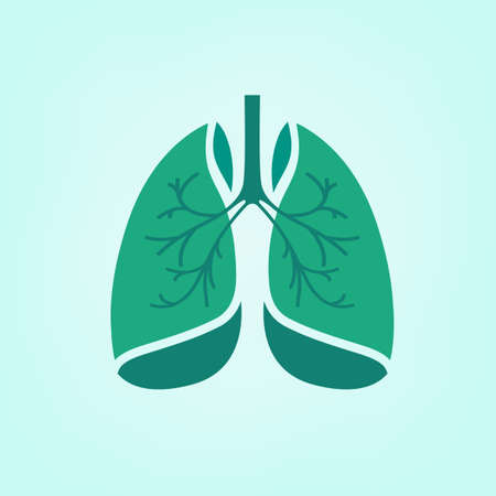 Beautiful vector illustration of medical lungs icon. Editable abstract image in light green and emerald colors useful for a poster, icon, logo, placard, sign, label and web banner creative design. Illustration