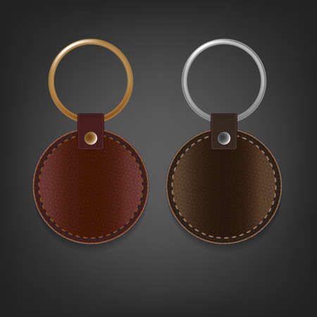 knickknack: Vector illustration of a blank brown leather rectangular keychain with a ring for a key, Isolated on a light gray background. Ideal template for branding, identity guidelines and promo campaigns.