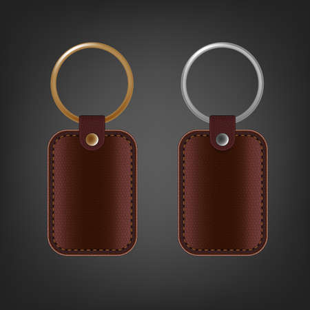 Vector illustration of a blank leather rectangular keychain with a ring for a key, Isolated on a light gray background. Ideal template for branding, identity guidelines and promo campaigns.