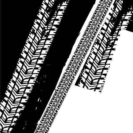 off road racing: Vector illustration of tire tracks grunge template. Modern background for poster, print, flyer, book, booklet, brochure and leaflet design. Editable graphic image in monochrome black and white colors. Illustration