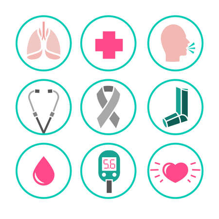 asthma inhaler: Beautiful vector illustration of asthma icons set. Abstract medicine concept. Useful for poster, indographics, placard, leaflet, brochure, print, book and ad graphic design.