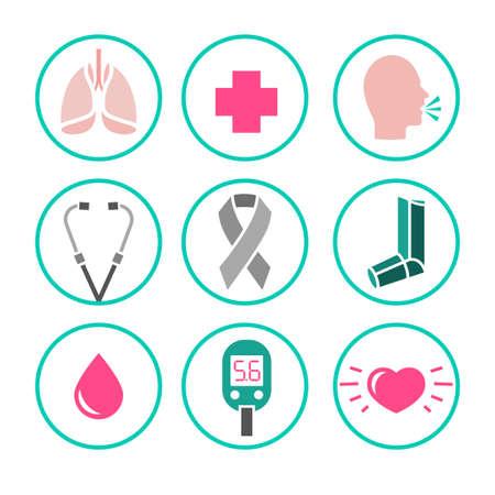 Hermosa ilustración vectorial de iconos de asma establecido. Resumen concepto de la medicina. Útil para el cartel, indographics, cartel, folleto, folleto, la impresión, el libro y el diseño gráfico de anuncios. Ilustración de vector