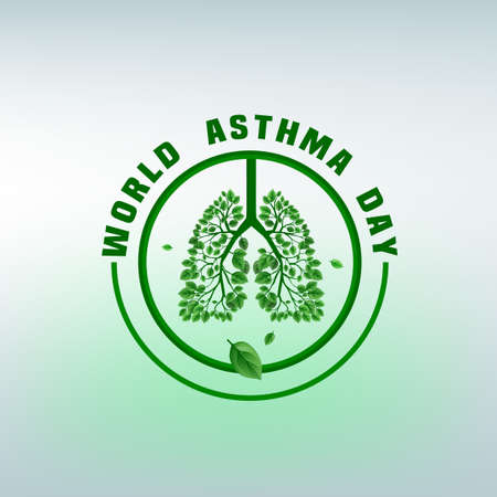 pulmonology: Beautiful vector illustration of medical asthma world day logotype. Editable colorful image in green ecological colors useful for a poster, icon, placard, sign, ad and web banner creative design.