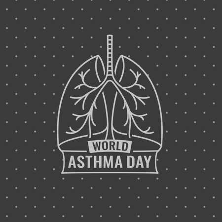 inhalation: Beautiful vector illustration of medical asthma world day logotype. Editable image in gray colors useful for a poster, icon, placard, sign, ad and web banner creative design.