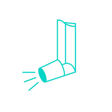air awareness: Beautiful vector illustration of medical asthma inhaler icon. Editable colorful image in light blue color useful for a poster, icon, placard, sign, graphic symbol and web banner creative design.