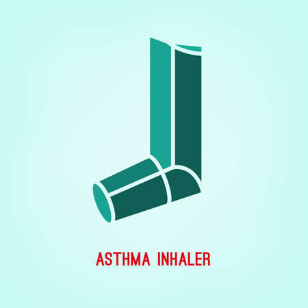 asthma inhaler: Beautiful vector illustration of medical asthma inhaler icon. Editable colorful image in emerald green color useful for a poster, icon, placard, sign, graphic symbol and web banner creative design.