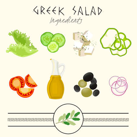 greek: Fresh Greek Salad ingredients vector illustration in authentic style on a light beige background.