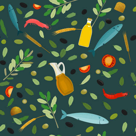 Seamless vector Greek food pattern with olives, seafood, ears, tomatos and olive oil