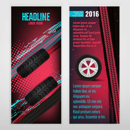 tire cover: Vector automotive banner template. Bright modern backgrounds for poster, print, flyer, advertisement, booklet, brochure and leaflet design. Editable graphic image in white, pink, blue and black colors