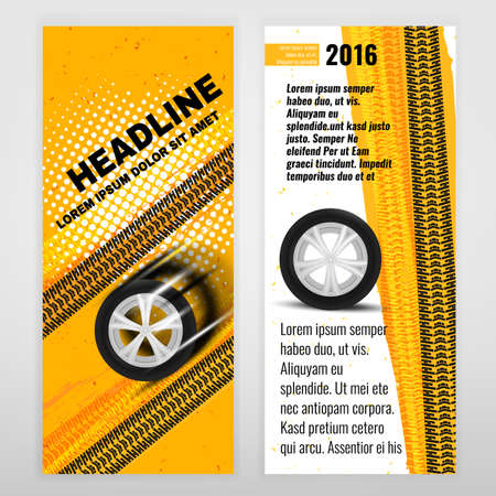 tire cover: Vector business brochure template. Bright modern backgrounds for poster, print, flyer, book, booklet, brochure and leaflet design. Editable graphic image in white, black, orange and yellow colors