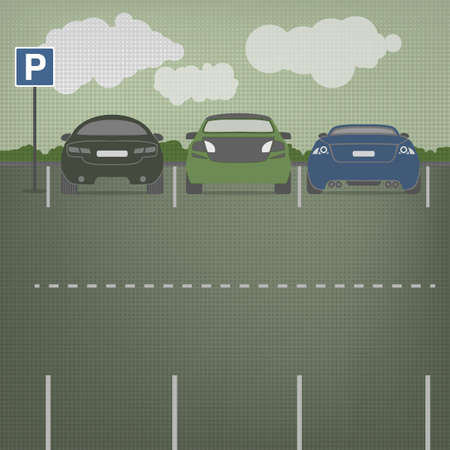 laconic: Car parking vector graphic in modern laconic style. Editable illustration. Automotive collection.