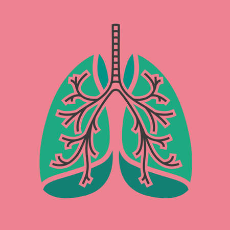 Beautiful vector illustration of medical lungs icon. Editable abstract image in green, grey and pink colors useful for a poster, icon, logo, placard, sign, label and web banner creative design. Ilustracja