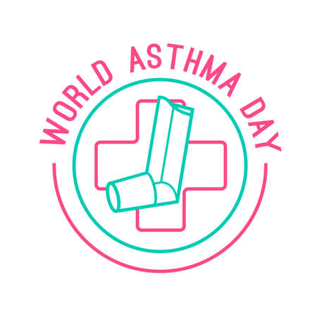 pulmonology: Beautiful vector illustration of medical asthma world day logotype. Editable colorful image in pink and green color useful for a poster, icon, placard, sign, ad and web banner creative design.