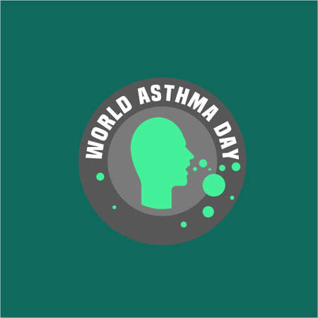 pulmonology: Beautiful vector illustration of medical asthma world day logotype. Editable colorful image in green and gray color useful for a poster, icon, placard, sign, ad and web banner creative design.