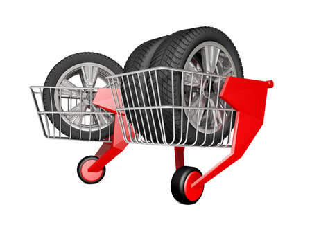 shopping carriage: Shopping trolley isolated on white background with clipping path. 3 rendering