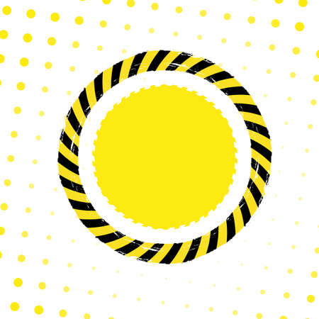 murder scene: Danger tape circle on a white and yellow dotted background. Illustration